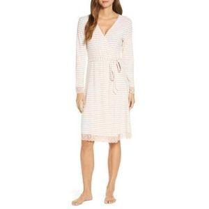Rachel Parcell Lace Trim Robe Pink White Stripe